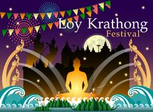 Abstract of Loy-Krathong Festival. royalty free illustration