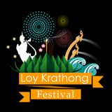 Abstract of Loy-Krathong Festival. vector illustration