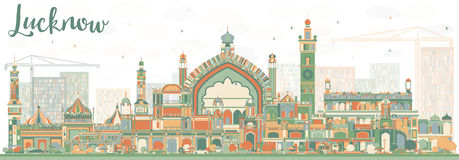 Abstract Lucknow Skyline with Color Buildings. Vector Illustration. Business Travel and Tourism Concept with Modern Architecture. Image for Presentation Banner Stock Photo