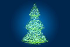 Abstract luminous Christmas tree, 3D. Rendering stock illustration