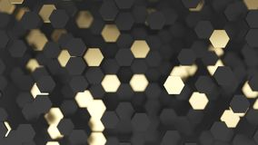 Abstract lux background with black and gold 3d hexagons. Abstract background with black and gold 3d hexagons. 3d render illustration stock illustration