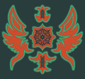 Abstract Luxurious tribal design - t-shirt graphic design with stitches and rivets Stock Image