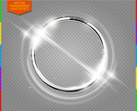 Abstract luxury chrome metal ring. Vector light circles and spark light effect (transparency in additional format only). Sparkling glowing round frame on Stock Images