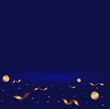 Abstract luxury dark blue gradient with confetti and ball gold b. Ackground Studio backdrop ,Template mock up Vector illustrator vector illustration