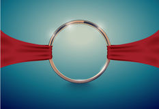 Abstract luxury golden ring with red cloth ribbon. Vector light vintage effect background. Round frame on deep volume turquoise Stock Images