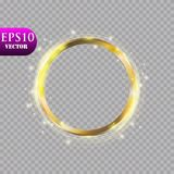 Abstract luxury golden ring on transparent background. Vector light circles spotlight light effect. Gold color round. Frame.Eps 10 royalty free illustration