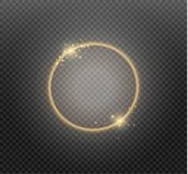 Abstract luxury golden ring on transparent background. Vector light circles spotlight light effect. Gold color round. Frame vector illustration