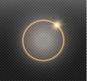 Abstract luxury golden ring on transparent background. Vector light circles spotlight light effect. Gold color round. Frame royalty free illustration