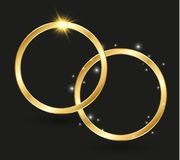 Abstract luxury golden ring. Vector light circles and spark light effect.  Royalty Free Stock Images