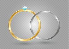 Abstract luxury golden ring. Vector light circles and spark light effect.  Stock Image