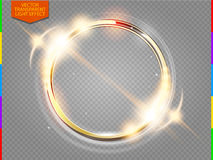 Abstract luxury golden ring. Vector light circles and spark light effect (transparency in additional format only) Royalty Free Stock Images
