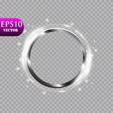 Abstract luxury metal ring on transparent background. Vector light circles spotlight light effect. Metal color round. Frame. Eps 10 vector illustration