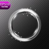 Abstract luxury metal ring on transparent background. Vector light circles spotlight light effect. Metal color round. Frame.Eps 10 stock illustration