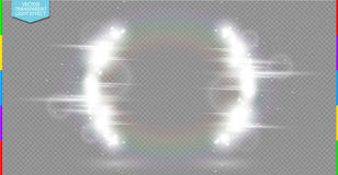 Abstract luxury white vector light flare semicircle and spark light effect  Royalty Free Stock Photography