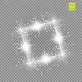 Abstract luxury white vector light flare spark light effect. Sparkling glowing square frame on transparent. Starlight. Moving background. Glow blurred space for Royalty Free Stock Images