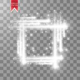 Abstract luxury white vector light flare spark light effect. Sparkling glowing square frame on transparent. Starlight. Moving background. Glow blurred space for Royalty Free Stock Photo