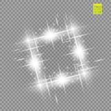 Abstract luxury white vector light flare spark light effect. Sparkling glowing square frame on transparent. Starlight. Moving background. Glow blurred space for Stock Images