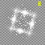 Abstract luxury white vector light flare spark light effect. Sparkling glowing square frame on transparent. Starlight. Moving background. Glow blurred space for Royalty Free Stock Image