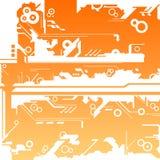 Abstract machine maze background. On orange gradient Stock Images