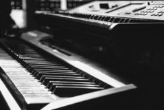 Monochrome keyboards in focus in a glimpse royalty free stock images