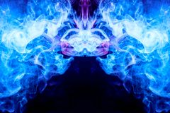 Abstract magic background. Dense multicolored smoke of   blue and purple colors on a black isolated background. Background of smoke vape royalty free illustration