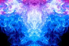 Abstract magic background. Dense multicolored smoke of blue and purple colors on a black isolated background. Background of smoke vape vector illustration
