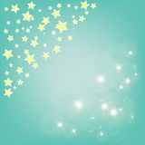 Abstract magic bokeh and yellow star on blue background Royalty Free Stock Photography