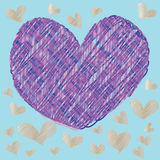 Abstract magic colorful heart on blue background Royalty Free Stock Photo