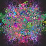 Abstract magic colorfull splashes background. Abstract colorful background with ink spots  and  decorative flowers Royalty Free Stock Photo