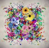 Abstract magic colorfull splashes background. Abstract colorful background with ink spots and decorative flowers royalty free illustration