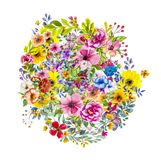 Abstract magic colorfull splashes background. Abstract colorful background with ink spots  and  decorative flowers Stock Photography