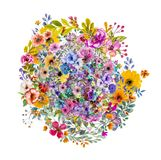 Abstract magic colorfull splashes background. Abstract colorful background with ink spots  and  decorative flowers Royalty Free Stock Images