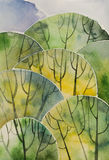 Abstract magic forest overhead. Artistic watercolor illustration Stock Photo