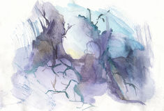 Abstract magic forest. Vector watercolor abstract magic forest background Stock Photography