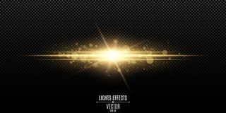 Abstract magic stylish light effect on a transparent background. Gold flash. Luminous dust and glares bokeh. Vector illustration. EPS 10 royalty free illustration