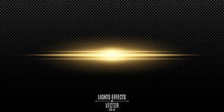 Abstract magic stylish light effect on a transparent background. Gold flash. Vector illustration. EPS 10 Royalty Free Stock Photos