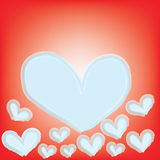 Abstract magic white heart on red background Stock Photography