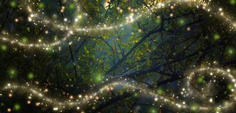 Abstract and magical image of Firefly flying in the night forest stock illustration