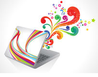 Abstract magical laptop explode Stock Image