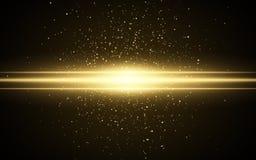 Abstract magisch modieus lichteffect voor een transparante achtergrond Gouden flits Lichtgevende vliegende stof Flikkerende deelt royalty-vrije illustratie