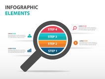 Abstract magnifier business Infographics elements, presentation template flat design vector illustration for web design marketing Royalty Free Stock Photos