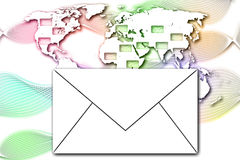 Abstract Mail communication on World Map background. Royalty Free Stock Photography