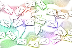 Abstract Mail communication on World Map background. Stock Photos