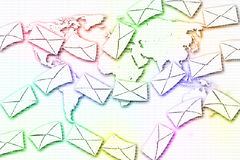 Abstract Mail communication on World Map background. Royalty Free Stock Photos