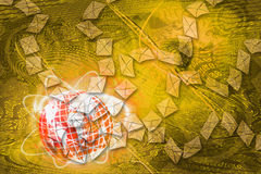 Abstract Mail communication on World Map background. Stock Photo