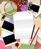 Composing letter. Envelopes, photo frame and loupe, vector Royalty Free Stock Photo