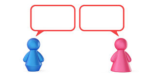 Abstract male and female figures with speech bubbles isolated on. White background Stock Image