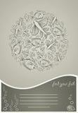 Abstract malplaatje voor groetkaart met vissen Stock Foto