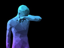 Abstract man body. Blue 3D ashamed man standing on black background Stock Photography