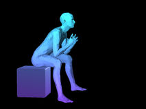 Abstract man body. Blue 3D abstract male body model sitting on a cubes Royalty Free Stock Image